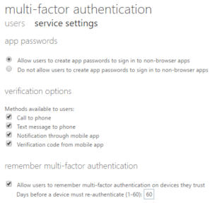 Multi-factor authentication service settings Office 365