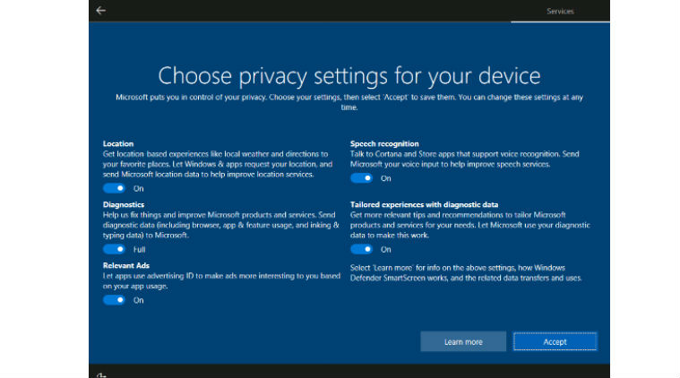 01 Choose privacy settings for your device