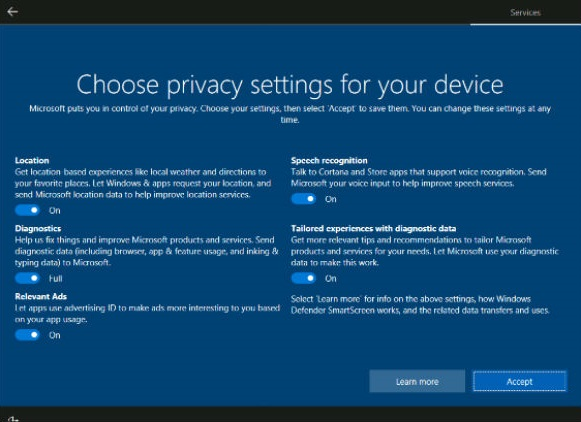 01a Choose privacy settings for your device